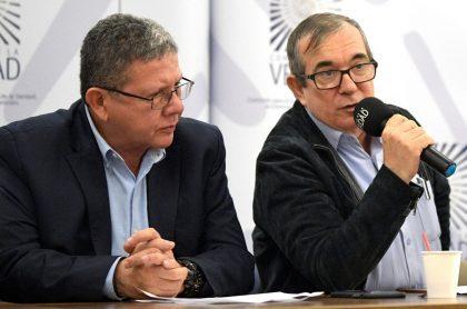 Rodrigo Londoño 'Timochenko' y Pablo Catatumbo, a los que la JEP negó restringirles la libertad.