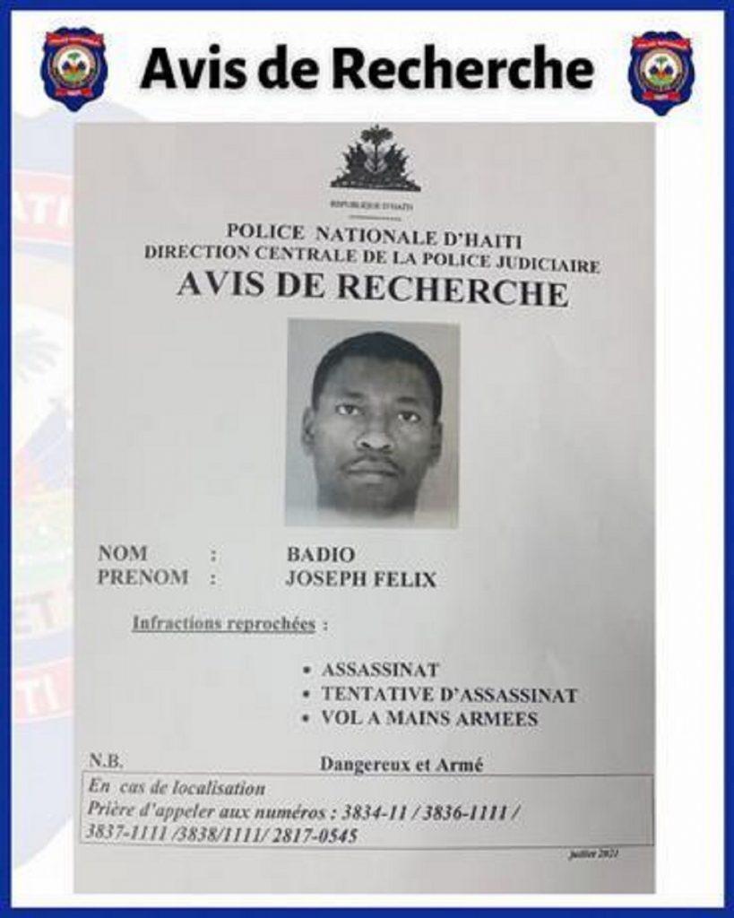 Boletín contra Joseph Felix Badio / Policía de Haití