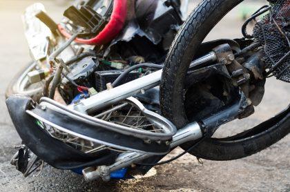 Imagen de accidente que ilustra nota; Bogotá: motociclista se estrelló contra un separador y falleció