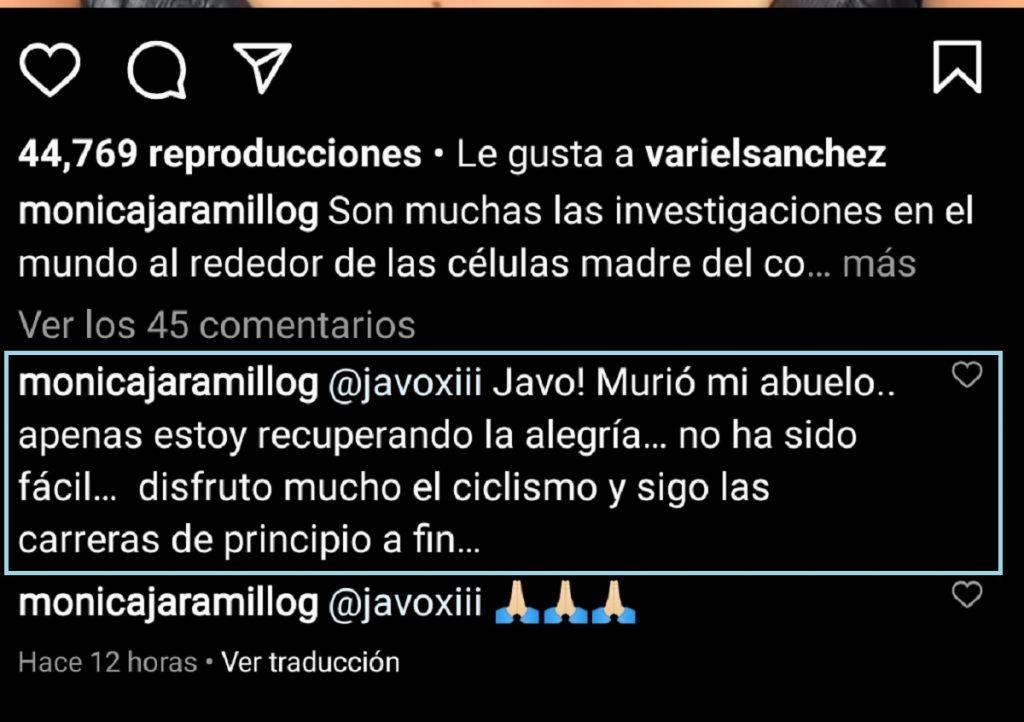 Captura de pantalla Instagram monicajaramillog.