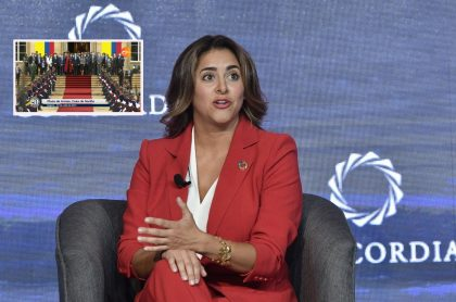 María Juliana Ruiz, primera dama de Colombia en el panel 'Opportunities & Challenges to Achieve the SDGs - The Role of Strategic Partnerships' hecho en Bogotá en mayo del 2019.