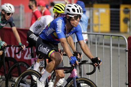 Rigoberto Urán, protagonista colombiano de la prueba de ciclismo de ruta, terminando octavo.