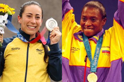Fotos de Mariana Pajón y María Isabel Urrutia, en nota de medallistas más ganadores por Colombia en los Olímpicos.
