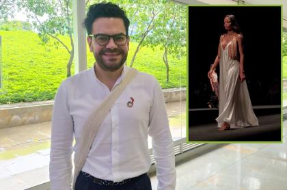 Juan Pablo Socarrás, diseñador, a propósito de que habló de 'Magdalena', su colección que cerró Colombiamoda 2021, y modelo desfilando uno de sus vestidos.