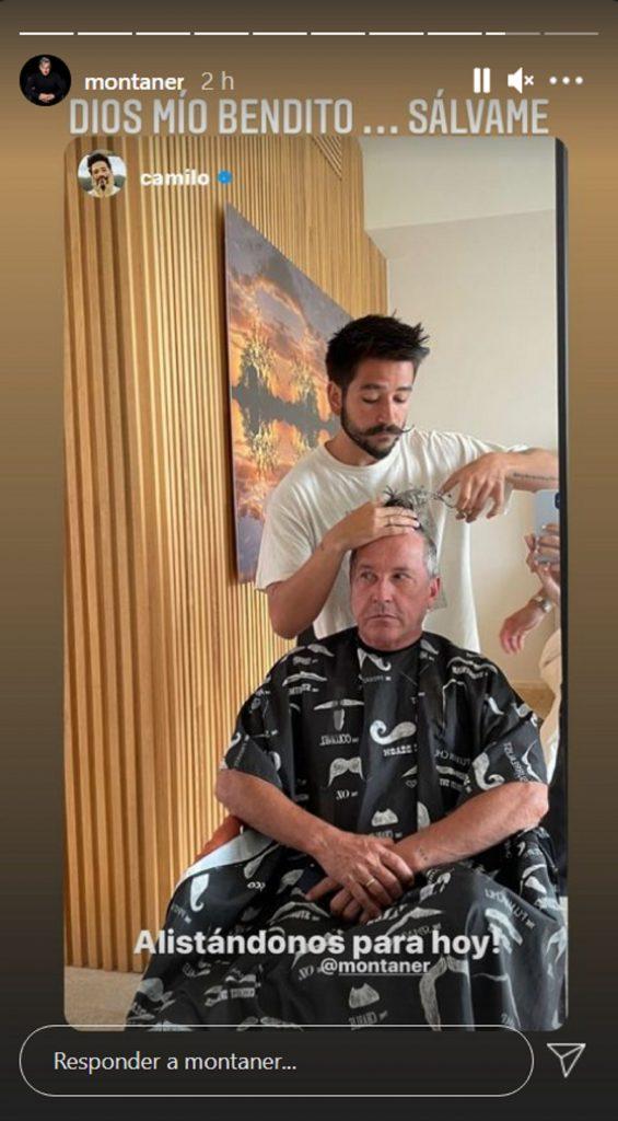 Camilo cortándole el pelo a Ricardo Montaner / Instagram: @montaner