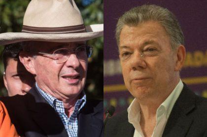 Los expresidentes colombianos Álvaro Uribe y Juan Manuel Santos.