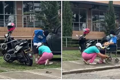 Mujer pide dinero con su hija en Bucaramanga y graban como se transforma.
