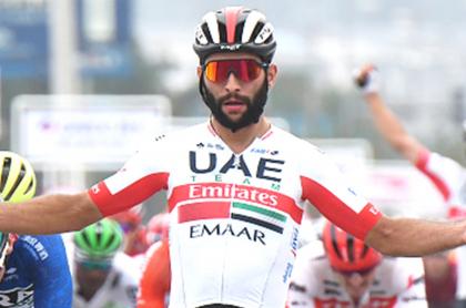 Triunfo de Fernando Gaviria en Tour de Polonia 2021. Imagen del embalador colombiano.