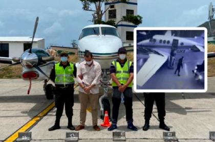 Imagen del momento en que cargan droga al avión y de las dos personas capturadas cuando iban en la aeronave