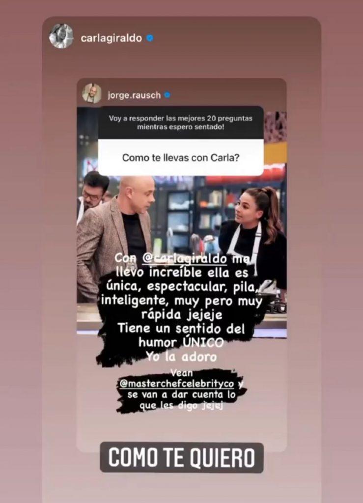 Captura de pantalla historia Instagram carlagiraldo.