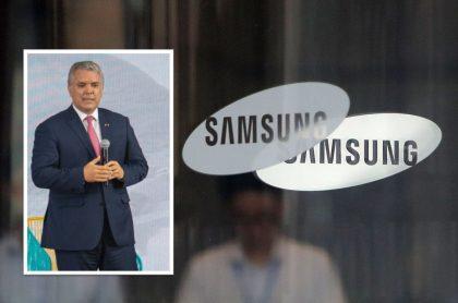 Presidente Iván Duque y logo de Samsung, empresa con la que se reunirá en Corea del Sur