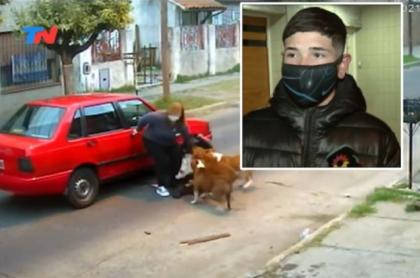 Imagen del joven que defendió a mujer del ataque de perros pitbull en Argentina
