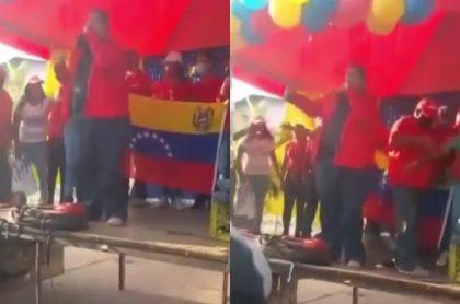 Video de caída de político chavista en tarima, en Venezuela