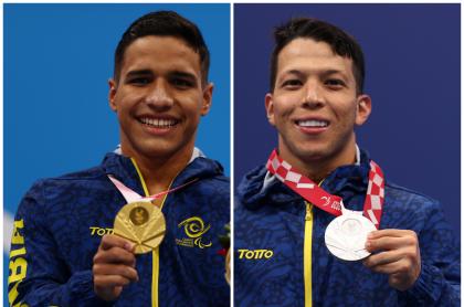 Carlos Daniel Serrano y Nelson Crispín, que ganaron nuevas medallas para Colombia en Juegos Paralímpicos
