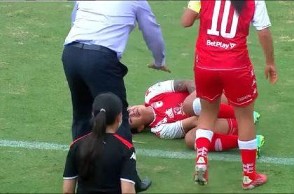 Diana Celis, novia de 'Epa Colombia', sufrió lesión en el codo en partido Santa Fe-Nacional