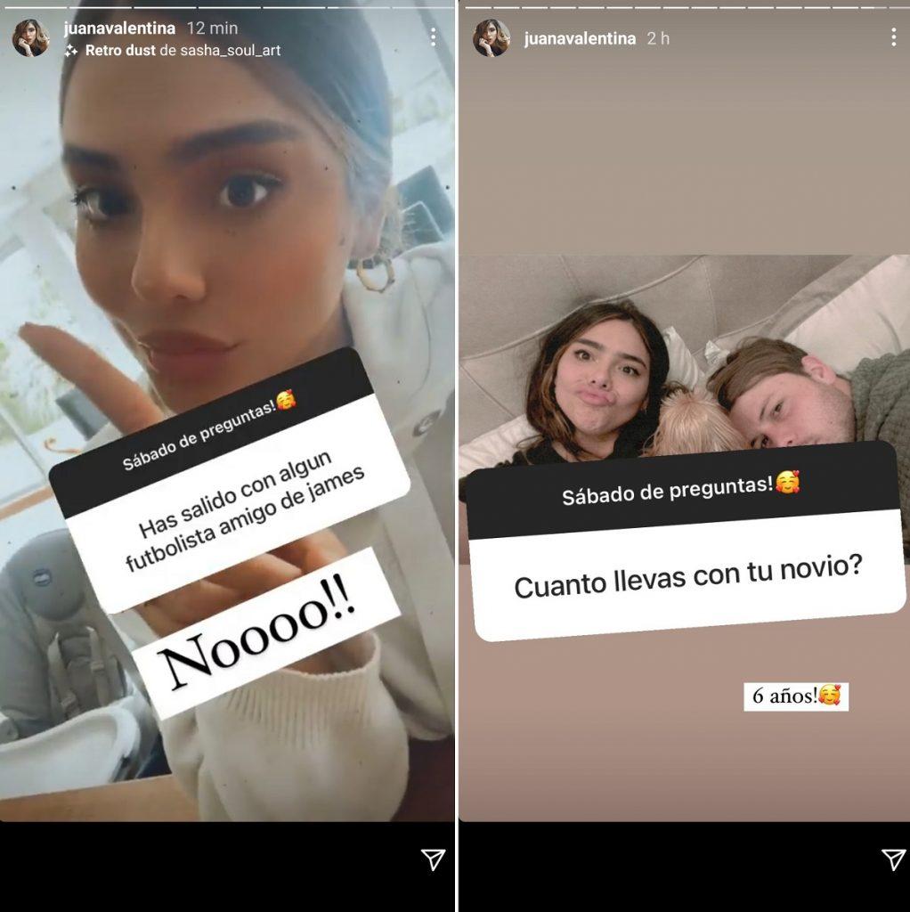 Capturas de pantalla historias Instagram juanavalentina.