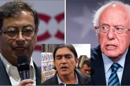 Gustavo Petro, Gustavo Bolívar y Bernie Sandres, para nota de llamada telefónica.