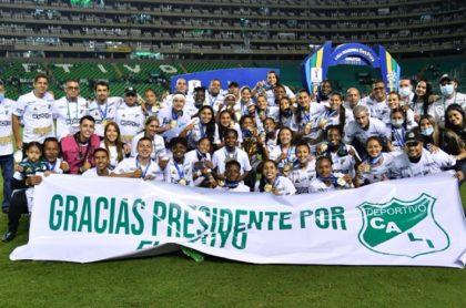 Deportivo Cali femenino para nota de título de la liga de fútbol femenina