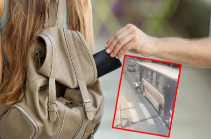 Imágenes que ilustran el robo de un celular.