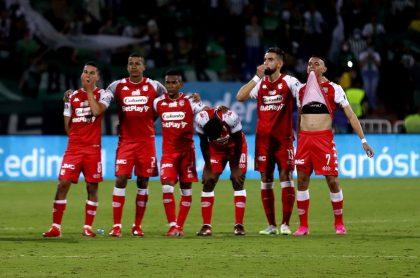 Celebración de Neyder Moreno en el partido de Atlético Nacional vs. Independiente Santa Fe.
