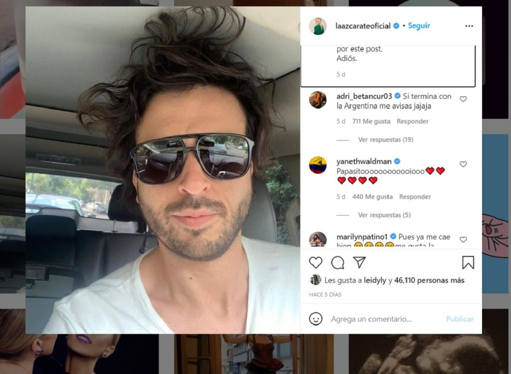 Captura de pantalla de Instagram: @laazcarateoficial