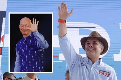 Foto de Iván Duque y Jeff Bezos en reunión en Washington