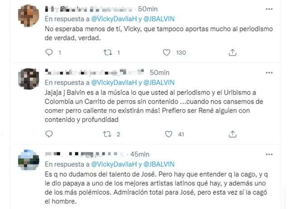 Respuestas al trino de Vicky Dávila tras opinar de J Balvin/Twitter @VickyDavilaH