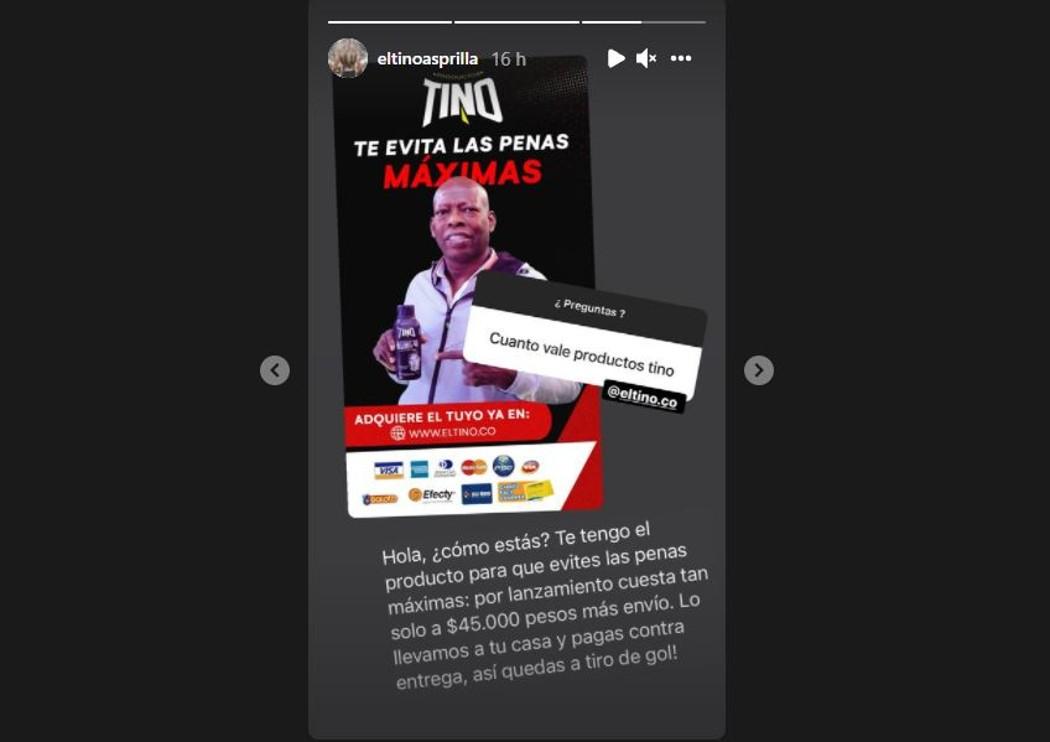 Captura de pantalla Instagram @eltinoasprilla