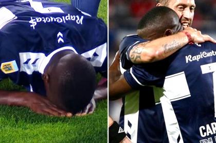Johan Carbonero, que entró en llanto luego de hacer gol con Gimnasia y Esgrima ante Independiente. Fotomontaje: Pulzo