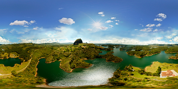 Aerial panorama of Big Stone Guatape on October 18, 2012 in Guatapé, Colombia. (Photo by juancorrea/360cities.net via Getty Images)