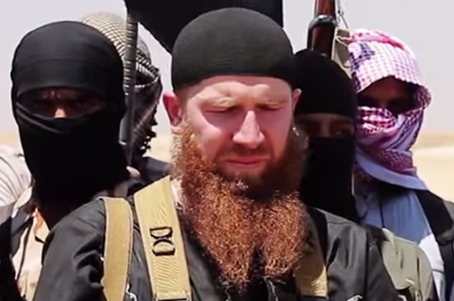 Correcting date  (FILES) This file photo made available on June 29, 2014 shows Abu Omar al-Shishani (Tarkhan Batirashvili), a Georgian fighting with the Islamic State jihadist group, at an unknown location in Syria. The Islamic State group's battle-tested equivalent of a defense minister is believed to have been killed in a US air strike in northeastern Syria, a US official said on March 8, 2016. The target of the March 4 attack was Omar al-Shishani, a red-bearded Georgian fighting with the jihadist group in Syria, the Pentagon said, cautioning that results of the operation were still being assessed.    / AFP / Al-Itisam Media / STRINGER